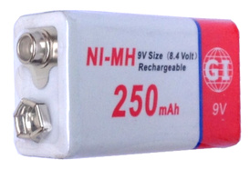 GI Batteries 9 Volt Ni-MH Rechargeable Battery 250 mAh