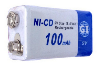 GI Batteries 9 Volt NI-CD Rechargeable Battery 100 mAh