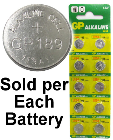 GP 189 / LR1130 (AG10, LR54) Alkaline Button Size Battery, On Tear Strip - Date 2017