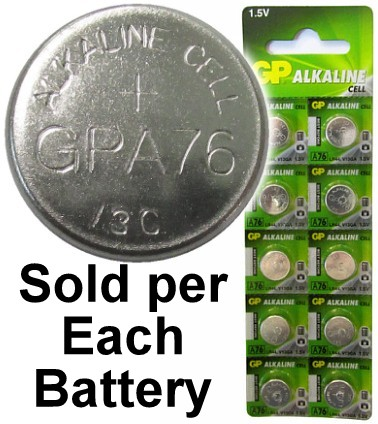 GP A76 (LR44, AG13) Alkaline Button Size Battery, On Tear Strip, 07/2021 Date