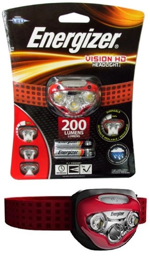 Energizer HDB32E2 Vision HD LED 200 Lumen Head Light with 3AAA Batteries, Included