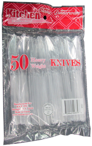 50 Clear Heavy Duty Plastic Knives, in Bag