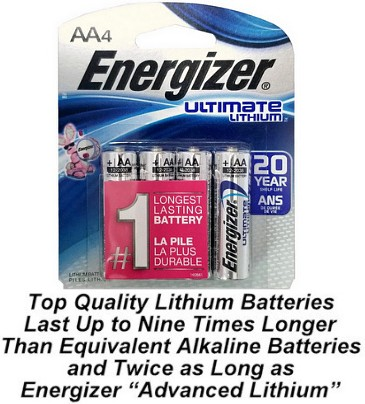 Energizer L91 AA Ultimate Lithium Battery 4-Pack, Blister Carded  # L91BP-4 AA