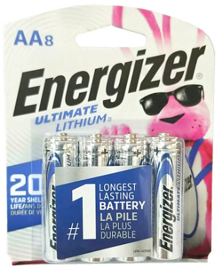 Energizer L91 AA Ultimate Lithium Battery 8-Pack, Blister Carded # L91BP-8 AA