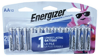 Energizer L91 AA Ultimate Lithium Battery 12-Pack, Blister Carded # L91SBP-12 AA