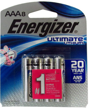 Energizer L92 AAA Ultimate Lithium Battery 8-Pack, Blister Carded # L92SBP-8 AAA