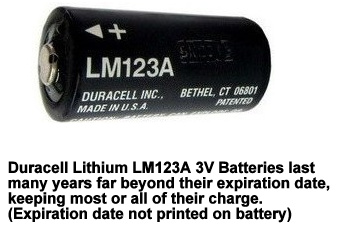 LM123A Duracell 3 Volt Lithium Battery CR123A, Made in USA, Short Dated, Works Great