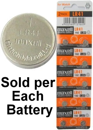 Maxell Batteries LR41 (192, AG3) Alkaline Button Size Battery, On Tear Strip