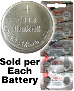 Maxell Hologram LR43 (A12, 186) Alkaline Button Size Battery, on Tear Strip. Exp. 2022