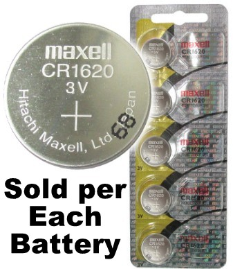 Maxell Hologram CR1620 3 Volt Lithium Coin Battery On Tear Strip. Exp. 2-2020