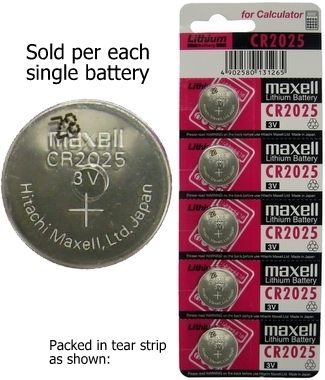 Maxell CR2025 3 Volt Lithium Coin Cell, On Tear Strip