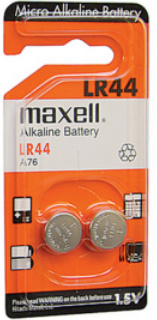 Maxell Batteries LR44 (A76, AG13) Alkaline Button Size Battery, Card of 2, June 2016 Date