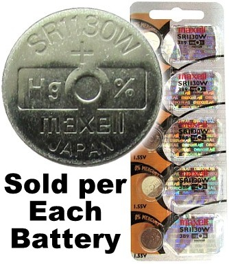 Maxell Hologram SR1130W (389) Silver Oxide Watch Battery On Hologram Tear Card