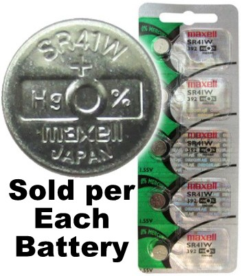 Maxell Hologram SR41W (392) Silver Oxide Watch Battery On Hologram Tear Card, Exp. 2020