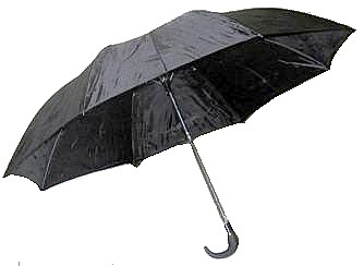 Mens Automatic EZ Folding Push-Button Black Umbrellas - Curved Handle