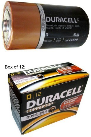 "Duracell MN1300 D Size Duralock Alkaline Battery - Boxed. Made in USA, ""2025"" Date"