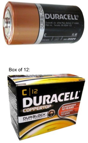 "Duracell MN1400 C Size Duralock Alkaline Battery - Boxed, Made in USA, ""12-2025"" Date"