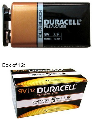 """Duracell Duralock MN1604 9 Volt Alkaline Battery with Cap Protectors - Boxed, USA, Date """"3-2020"""""""