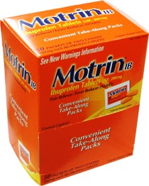 Motrin IB Ibuprophen Tablets USP, 200mg. Pain Reliever/Fever Reducer. Box of 50 2-Pack Tab.
