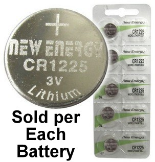 New Energy CR1225 3V Lithium Coin Cell, on Card