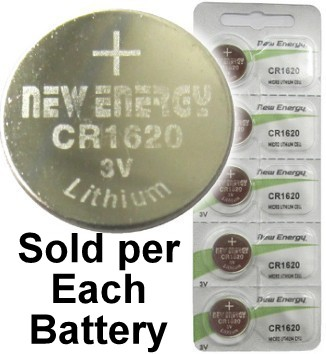 New Energy CR1620 3V Lithium Coin Cell, on Card
