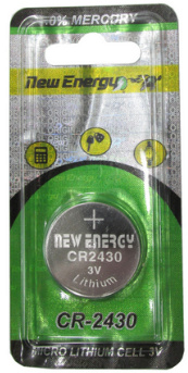 New Energy CR2430 3V Lithium Coin Cell, on Card