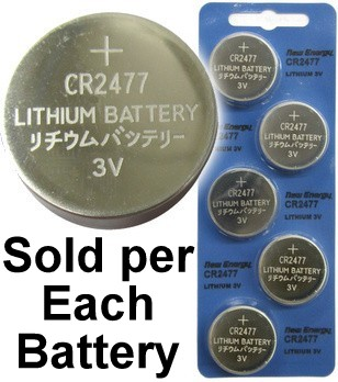 New Energy CR2477 3V Lithium Coin Cell, on Card