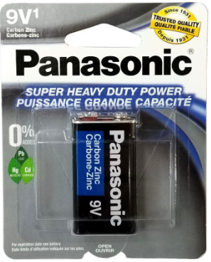 Panasonic 9V Super Heavy Duty Battery, 1 pack