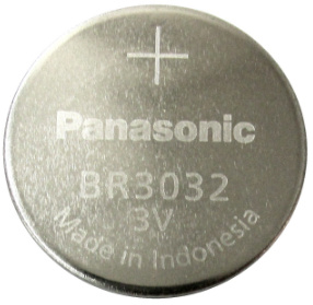 Panasonic BR3032 3V Lithium Coin Size Battery, Tray Pack