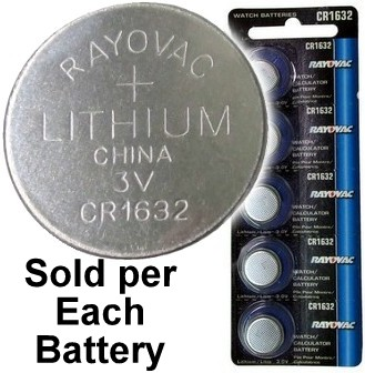 Rayovac CR1632 3V Lithium Coin Battery - On Tear Strip