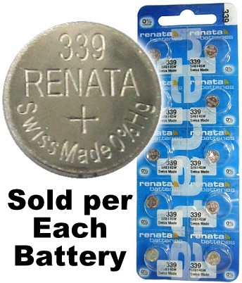 Renata 339 (SR614SW) Silver Oxide Watch Battery, on Tear Card