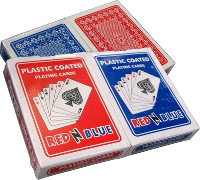 Red N' Blue Double Deck Promotional Plastic-Coated Playing Cards