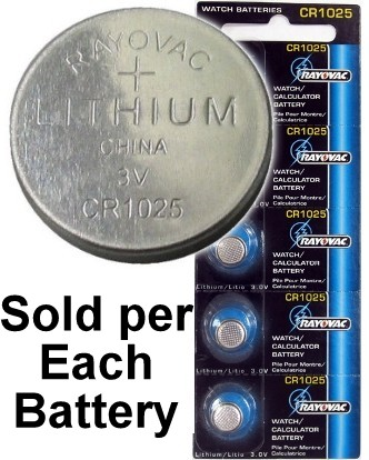Rayovac RV1025 (CR1025) Lithium Coin Battery - On Tear Strip