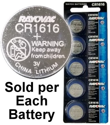 Rayovac RV1616 (CR1616) Lithium Coin Battery - On Tear Strip