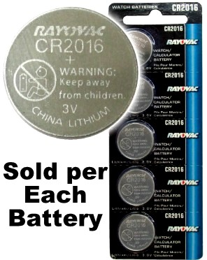 Rayovac RV2016 (CR2016) Lithium Coin Battery - On Tear Strip