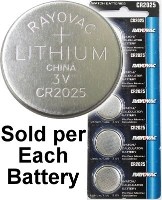 Rayovac RV2025 (CR2025) Lithium Coin Battery - On Tear Strip