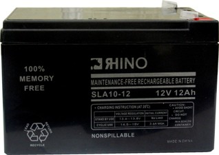 SLA10-12, Rhino 12V 12.0AH Sealed Lead Acid Rechargeable Battery