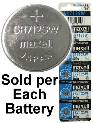 Maxell Batteries SR712SW (346) Silver Oxide Watch Battery. On Tear Strip - Out-dated 12-2012