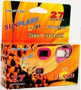 Sunflash Disposable Camera, US Flag Design,  with Flash, 27 Exp.