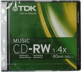 TDK CD-RW 80 Minute 700MB 4x ReWritable Music - with Jewel Case
