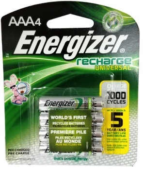 Energizer 700mAh AAA NiMH Pre-Charged Rechargeable Battery, 4 Pack AAA