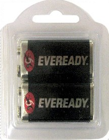 Eveready 1222 9 Volt Super Heavy Duty Battery, 2 in Reusable Plastic Pack