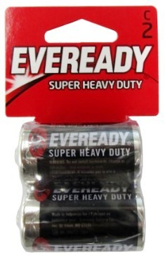 Eveready 1235-2C Super Heavy Duty Batteries: C-Size Battery 2 pack - Dated 9-2019