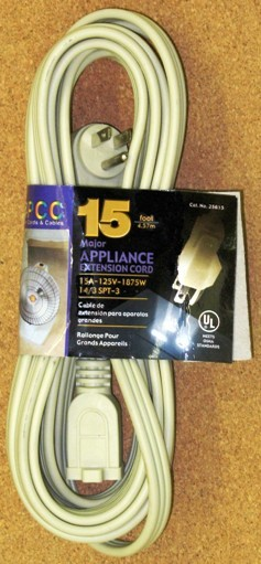 15 FT 14/3 SPT-3 Major Appliance Heavy Duty Extension Cord / UL