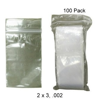 "Storage Plastic Zip Bags 2"" x 3"", .002 gauge, 100 ct."