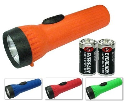 Energizer 3251NW2D Flashlight with 2 D Size Eveready Super Heavy Duty Batteries, Assorted Colors