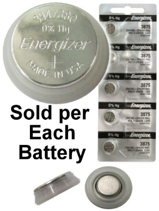 Energizer 387S (E400N, RM400R, S400PX) 1.55V Low Drain Silver Oxide Watch Battery. On Tear Strip