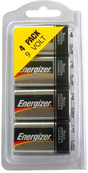 Energizer 522 9-Volt Alkaline Battery, Made in USA, 4 in Reusable Plastic Pack