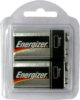 Energizer 522 9V Alkaline - 2 in Reusable Plastic Pack