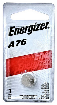 Energizer A76 (PX76A, LR44, AG13) Alkaline Watch Battery, Carded, Dated 2018